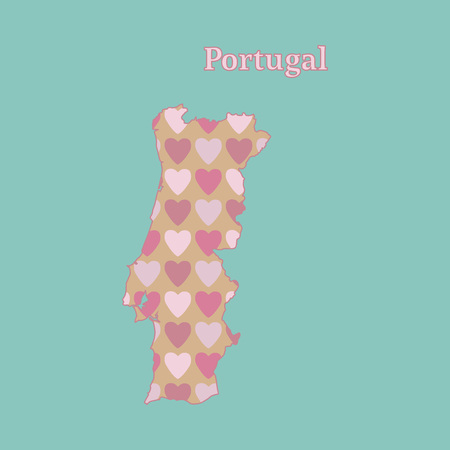 Outline map of Portugal with a texture of pink and red hearts. Isolated vector illustration on a blue background. Illusztráció
