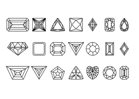 Collection of gems and gemstones outline image Ilustrace