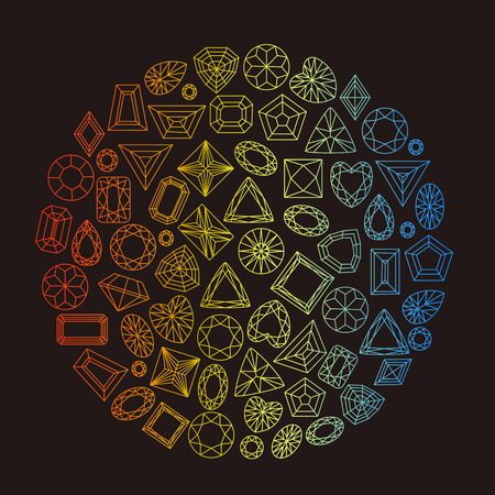 Collection of gems and gemstones outline image Ilustração