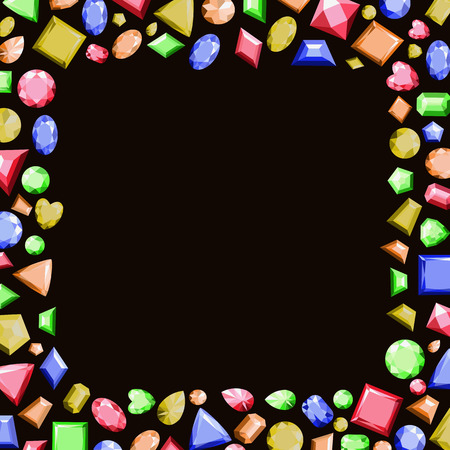 A frame from multi-colored precious stones of different shapes.