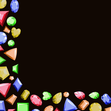 A frame from multi-colored precious stones of different shapes. Vector illustration. Ilustrace