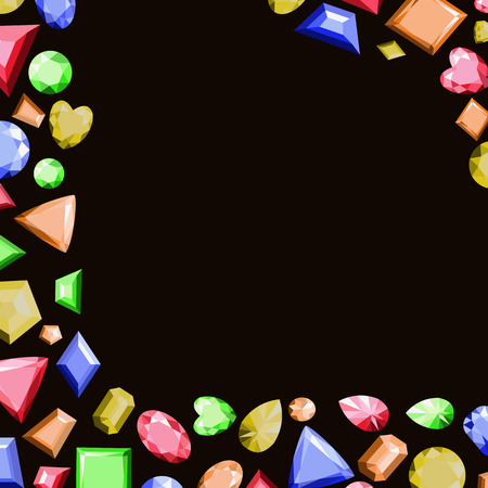 A frame from multi-colored precious stones of different shapes. Vector illustration. Ilustração
