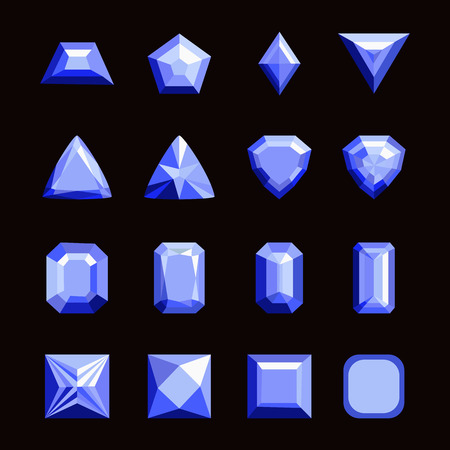 Collection of gems and gemstones. Types of diamond cutting, set of jewels and precious stones isolated vector illustration.