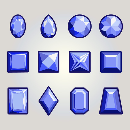 Collection of gems and gemstones. Types of diamond cutting. Ilustração