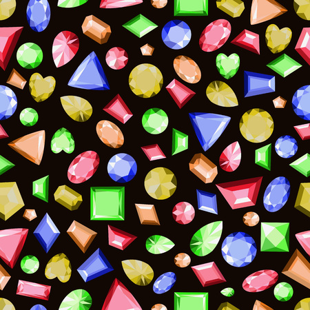 Seamless pattern with precious stones of different colors. Vector background. Illustration