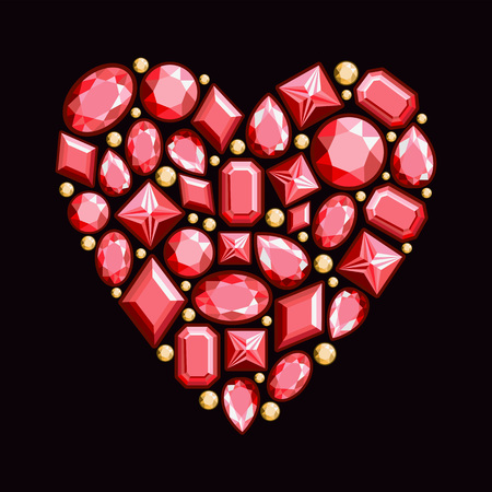 Set of jewels in the form of heart. Precious stones of red color. Vector illustration.