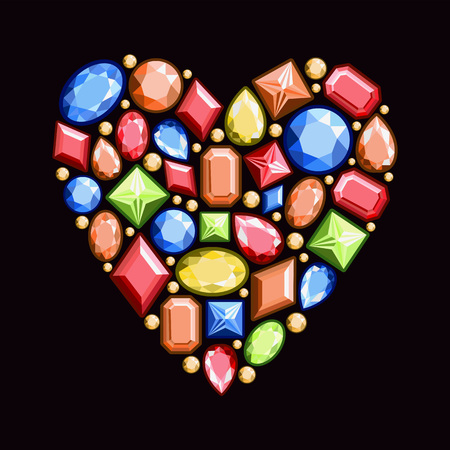 Set of jewels in the form of heart. Precious stones of red, blue, yellow and orange colors. Vector illustration.