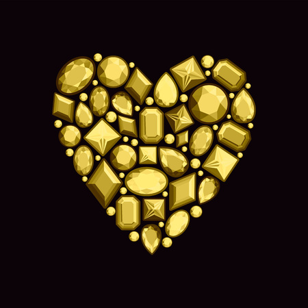 Set of jewels in the form of heart. Precious stones of gold color. Vector illustration. Ilustração