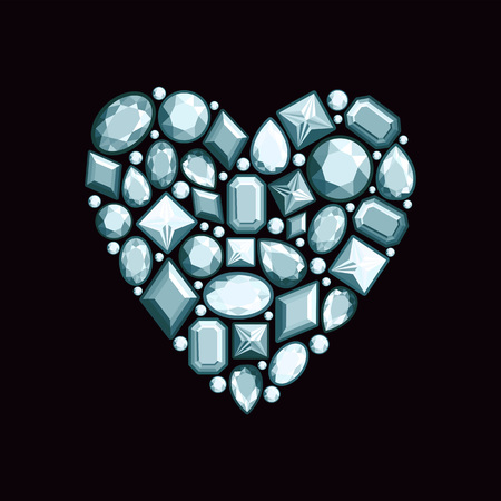Set of jewels in the form of heart. Precious stones of silver color. Vector illustration.