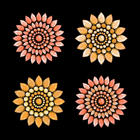 Set of multi-colored jewelry in shape of flower. Flowers made of precious stones.   Vector illustration.