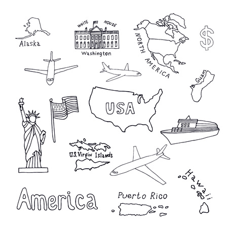 Map of the United States of America and its territories. North America, Alaska, USA, Hawaii, Guam and the US Virgin Islands. Statue of Liberty and the White House. vector black sketch. Ilustração