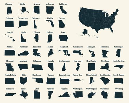 아메리카 합중국의 개요지도. 미국 50 개 주. 주 경계가있는 미국지도. 미국의 실루엣. 벡터 일러스트 레이 션.