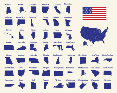 Outline map of the United States of America. 50 States of the USA. US map with state borders. Silhouette of the USA and flag. Vector illustration.