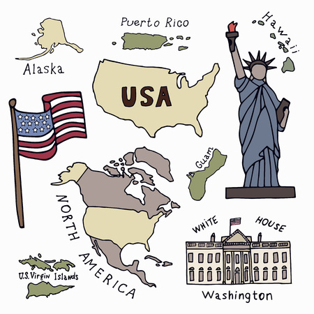 Map of the United States of America and the symbols of America. North America, Alaska, USA, Hawaii, Guam and the US Virgin Islands. Statue of Liberty and the White House. Hand drawn vector illustration.  Ilustração