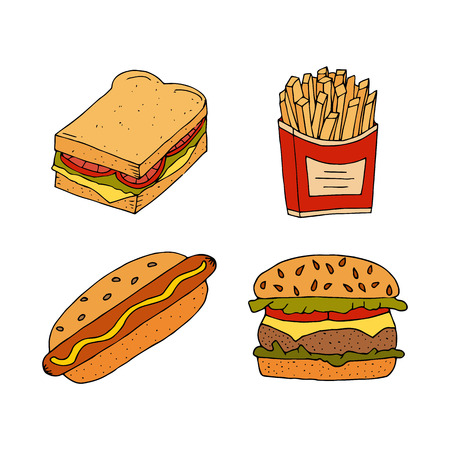Sandwich, hamburger, cheeseburger, hot dog and fried potatoes. Colorful hand drawn vector illustration isolated on white background. doodles or cartoon style. Illustration