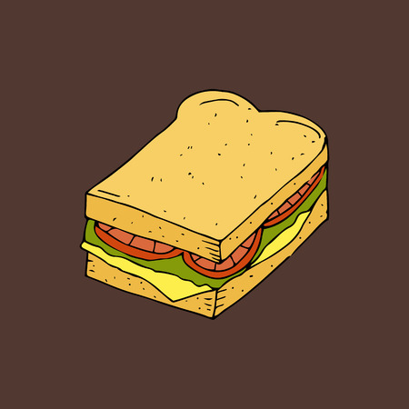 Hamburger, sandwich. Bread with a cutlet, cheese, lettuce and tomato.Color hand drawn vector illustration isolated on brown background. American Street fast food.doodles or cartoon style.