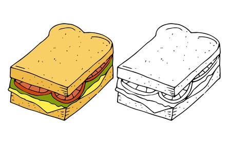 Hamburger,sandwich.Bread with cutlet,cheese,lettuce,tomato.Color,black and white  hand drawn vector illustration isolated on white background.American Street fast food.doodles or cartoon style.