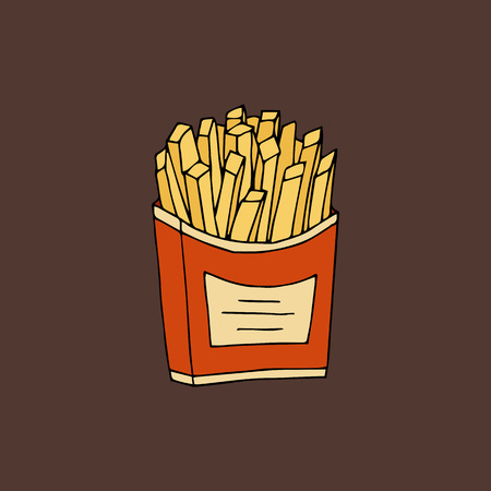 Fried potatoes.Color hand drawn vector illustration isolated on brown background. American Street fast food.doodles or cartoon style.