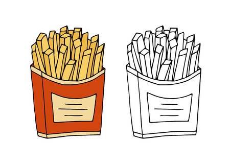 Fried potatoes. Color,black and white  hand drawn vector illustration isolated on white background.American Street fast food.doodles or cartoon style.