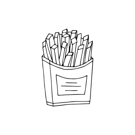 Fried potatoes. Black and white  hand drawn vector illustration isolated on white background.American Street fast food.doodles or cartoon style.