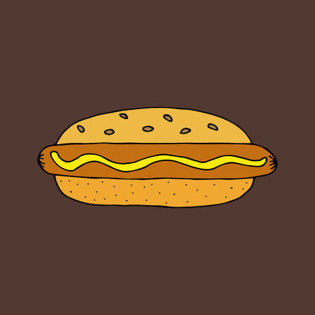 Hot Dog. Bun with sausage, mustard and sesame seeds. Colorful hand drawn vector illustration isolated on brown background. doodles or cartoon style. 向量圖像