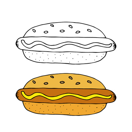 Hot Dog. Bun with sausage, mustard and sesame seeds. Black and white  hand drawn vector illustration isolated on white background.American Street fast food.doodles or cartoon style.