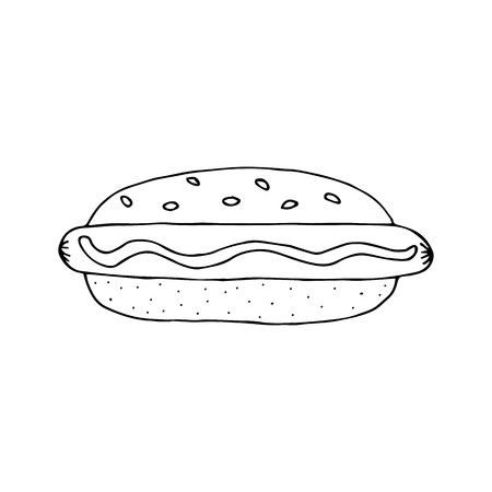 Hot Dog. Bun with sausage, mustard and sesame seeds. Colorful hand drawn vector illustration isolated on brown background. doodles or cartoon style.  Ilustração