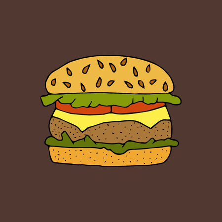 Hamburger, cheeseburger. Bun with a cutlet, cheese, lettuce and tomato.Color hand drawn vector illustration isolated on brown background. American Street fast food.doodles or cartoon style.