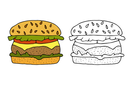 Hamburger,cheeseburger.Bun with cutlet,cheese,lettuce,tomato.Color,black and white  hand drawn vector illustration isolated on white background.American Street fast food.doodles or cartoon style.