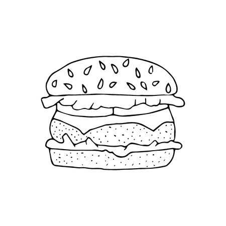 Hamburger,cheeseburger.Bun with cutlet,cheese,lettuce,tomato.Black and white  hand drawn vector illustration isolated on white background.American Street fast food.doodles or cartoon style. Ilustração