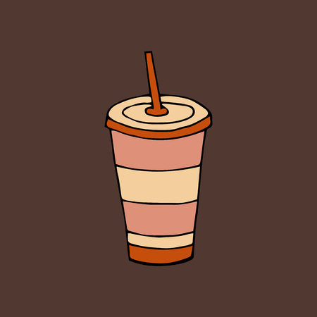 Glass of drink with a lid and a straw.Fast food.hand drawn vector illustration.doodles or cartoon style.  Ilustração