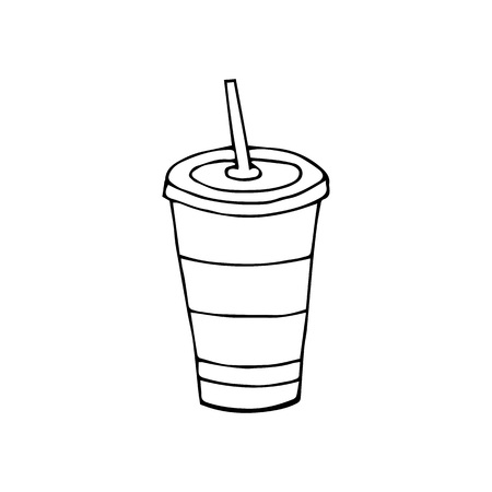 Glass of drink with a lid and a straw.Fast food.hand drawn vector illustration.doodles or cartoon style.