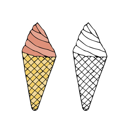Ice cream in a cone waffle cup.hand drawn vector illustration.doodles or cartoon style.