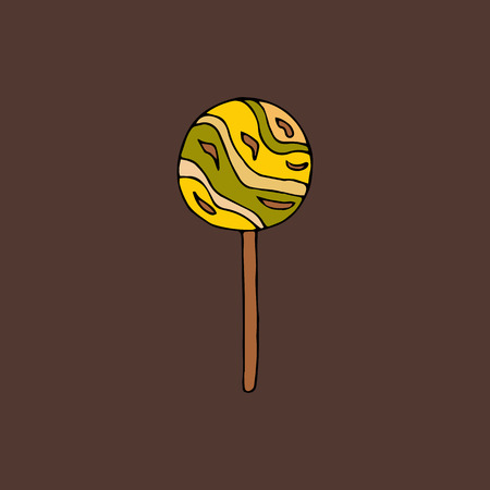 Round lollipop.hand drawn vector illustration.doodles or cartoon style.