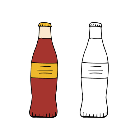 Bottle of soda drink.hand drawn vector illustration.doodles or cartoon style