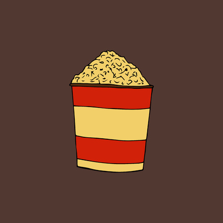 Popcorn in a striped box.A bucket of pop-corn.hand drawn vector illustration.doodles or cartoon style.