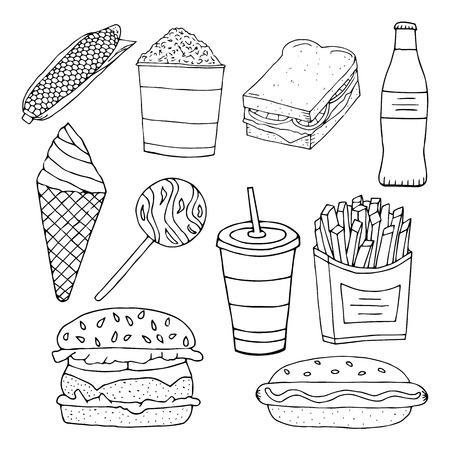 Sandwich,burger, hamburger,heeseburger,hotdog, ice cream, fries potatoes, popcorn. American fastfood. hand drawn vector illustration.doodles or cartoon style.