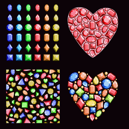 A set of multi-colored gems. Contains precious stones of different shapes, a seamless pattern and hearts of diamonds. Vector illustration.