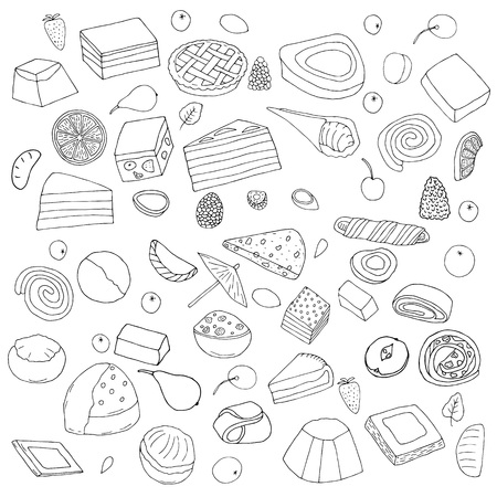 Set of desserts.Cakes, sweet rolls and pies, biscuits and berries.hand drawn vector illustration.doodles or cartoon style.