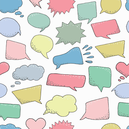 Seamless pattern. Thought frame. Speech bubble. Dream cloud. Talk balloon. Quote box.  Set of vector illustration icons. Ilustração