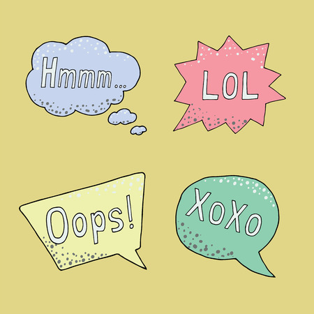 Thought frame. Speech bubble. Dream cloud. Talk balloon. Quote box.  Set of vector illustration icons with phrases lol, oops, xoxo, hmmm. Ilustração