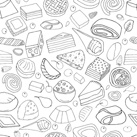 Seamless pattern from  set of desserts.Cakes, sweet rolls and pies, biscuits and berries.hand drawn vector illustration.doodles or cartoon style. Ilustração