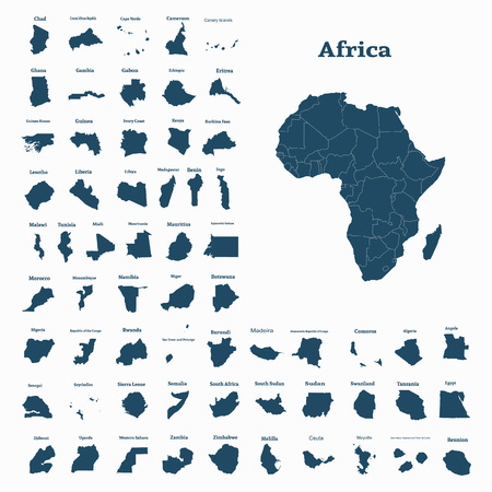 African continent and all countries of Africa. Vector illustration