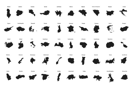 Outline maps of European countries. All the countries of Europe. Isolated vector illustration.