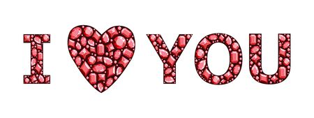 The phrase I love you made of precious stones. Precious stones of red color. Vector illustration. Çizim