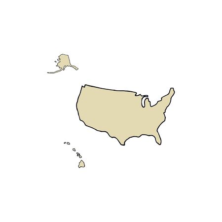 Map of the United States of America. Hand drawn vector illustration on a white background.