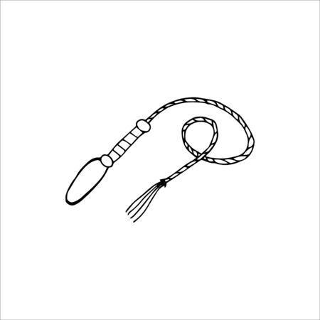 Handgezeichnete Peitsche isoliert auf weißem Hintergrund. Vektorillustration im Cartoon-Stil.