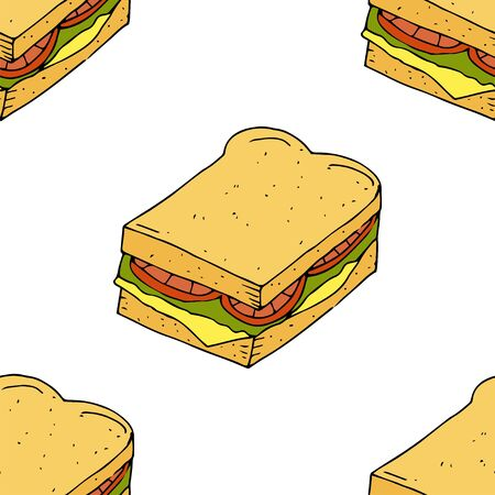 Sandwich.  Seamless pattern. hand drawn vector illustration.   doodles or cartoon style.