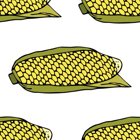 Ripe corn cob with leaves.  Seamless pattern. hand drawn vector illustration.   doodles or cartoon style.   イラスト・ベクター素材