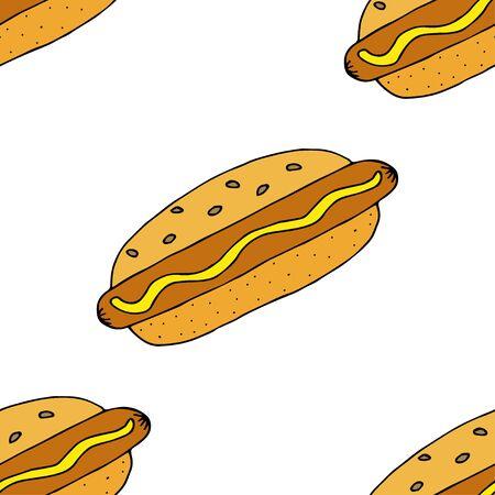 Hot dog. Seamless pattern. hand drawn vector illustration.   doodles or cartoon style.  Ilustracja